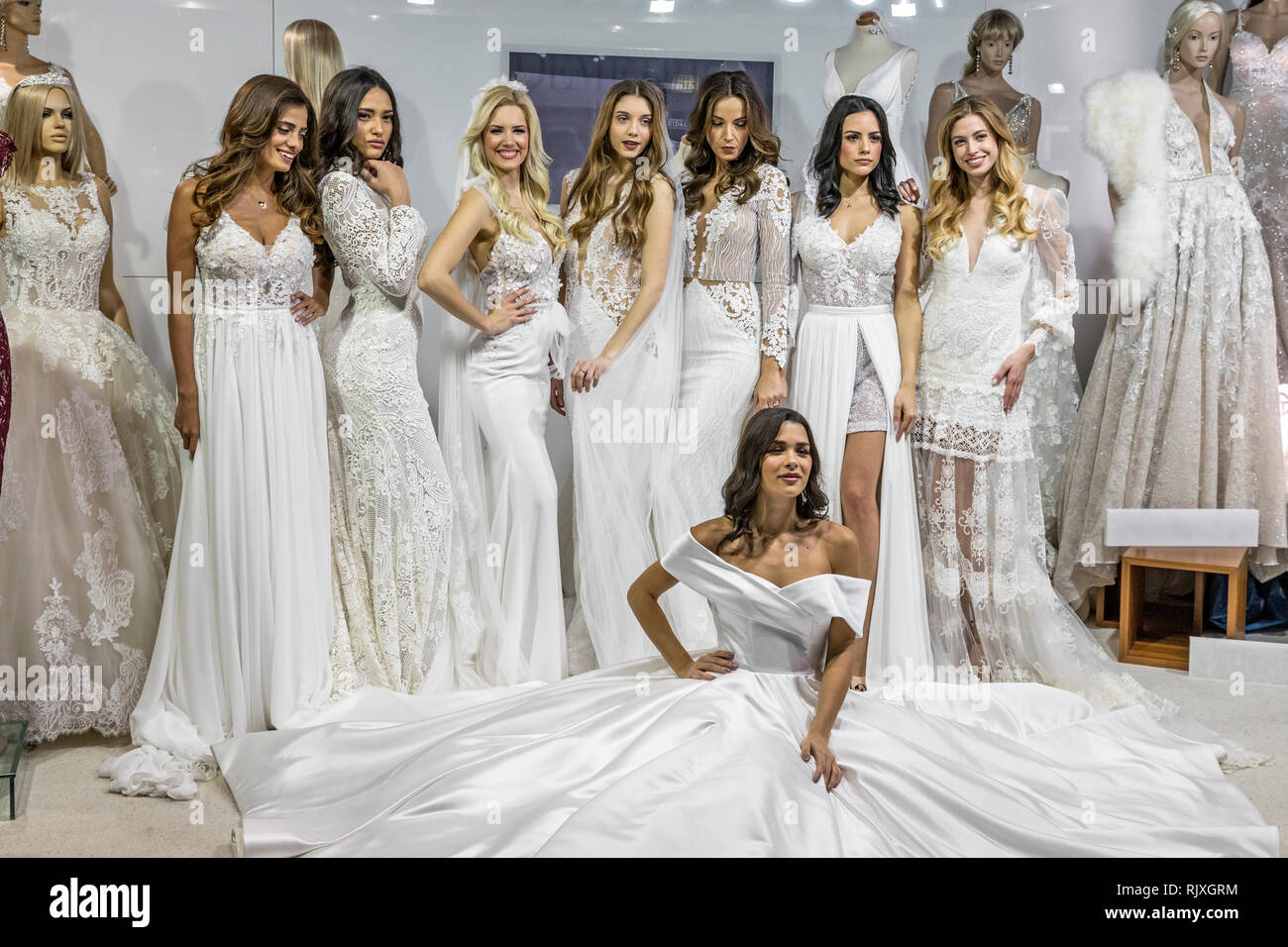 04213f80e75 Beautiful young models posing in wedding dresses on Zagreb Wedding Expo  2019 - Stock Image