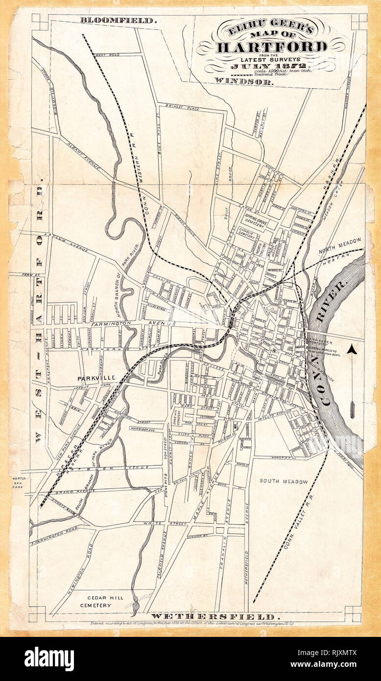 Old Map Of Hartford Stock Photos & Old Map Of Hartford Stock ...