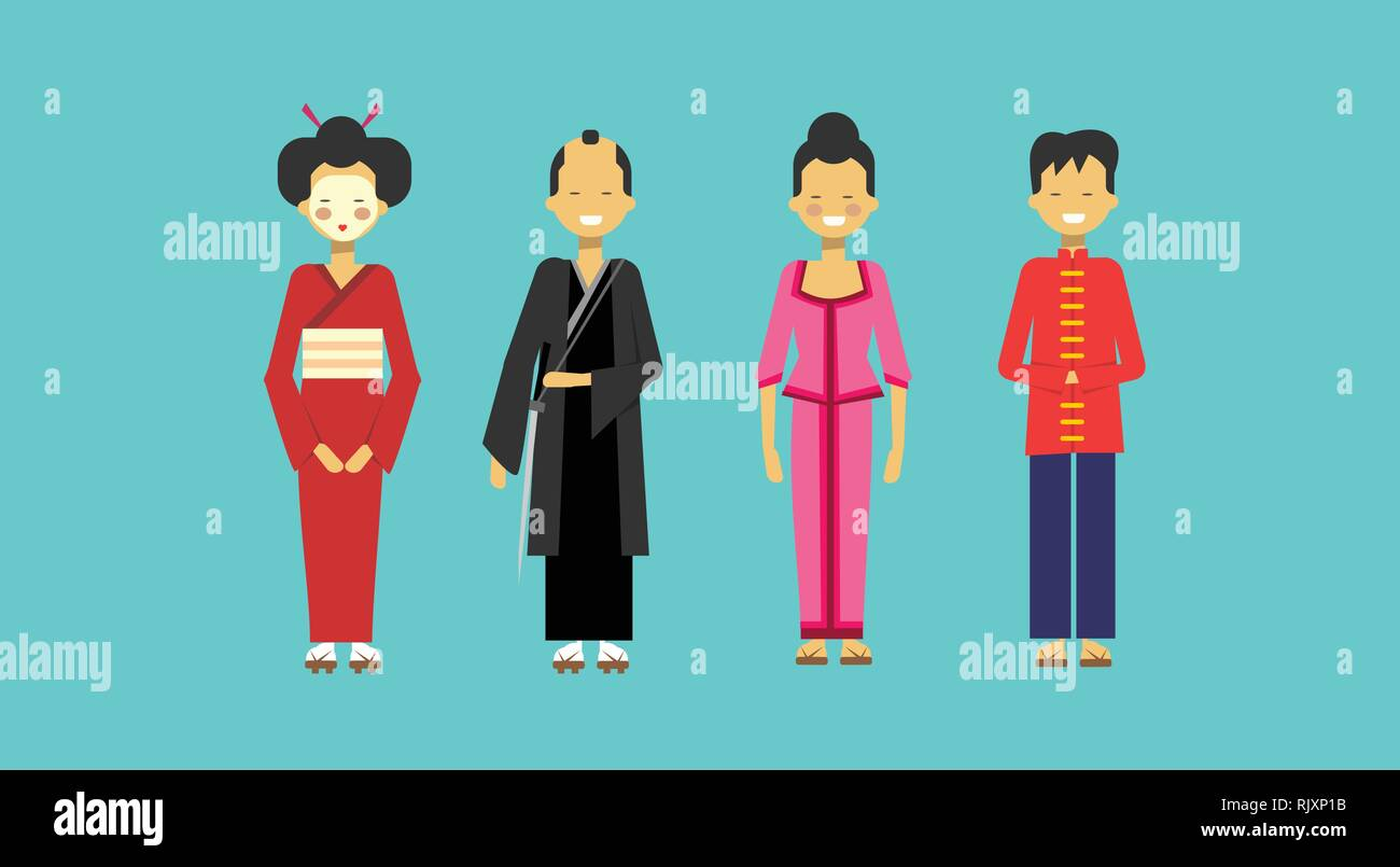 8768af24861ca Traditional Asian Costumes Set People Wearing Kimono Chinese And Japanese  Clothes - Stock Vector