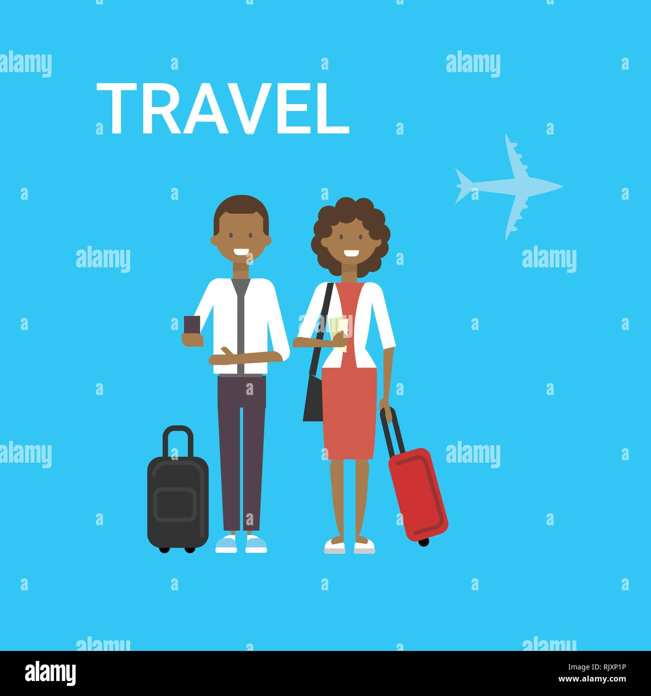 Couple Of Travellers With Bag Young African American Man And Woman Tourists Travel On Air Blue Background With Airplane - Stock Vector