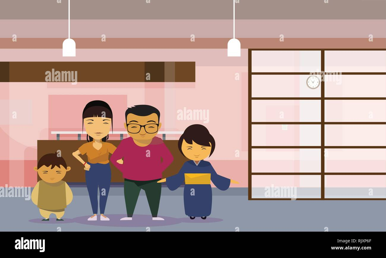 Asian Family Parents With Two Kids At Home - Stock Vector