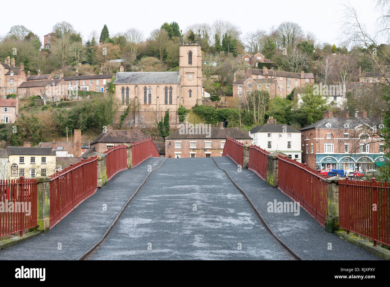 The recently renovated and painted Iron Bridge at Ironbridge, Telford, Shropshire - Stock Image