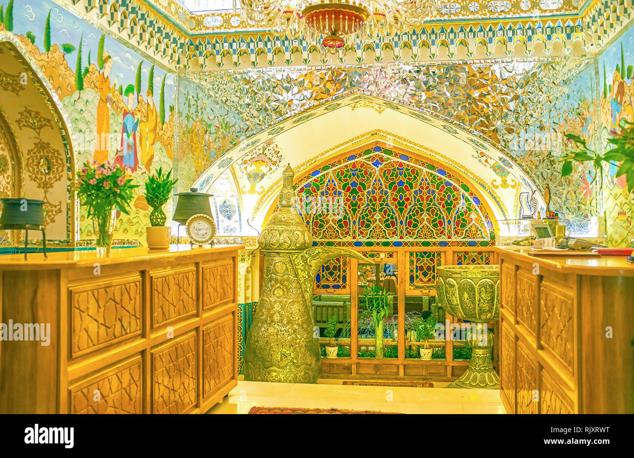 ISFAHAN, IRAN - OCTOBER 19, 2017: The reception desk of Baastan restaurant in center of Isfahan, on October 19 in Isfahan Stock Photo
