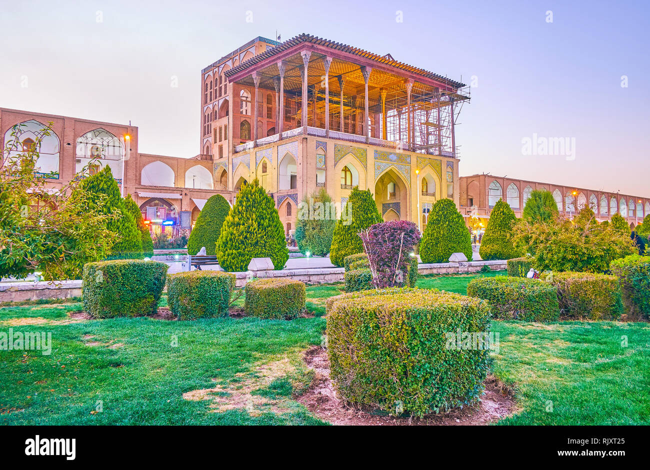 ISFAHAN, IRAN - OCTOBER 19, 2017: Ali Qapu Palace is the most beautiful buildings in Isfahan, was the residence of Persian Shah, on October 19 in Isfa Stock Photo