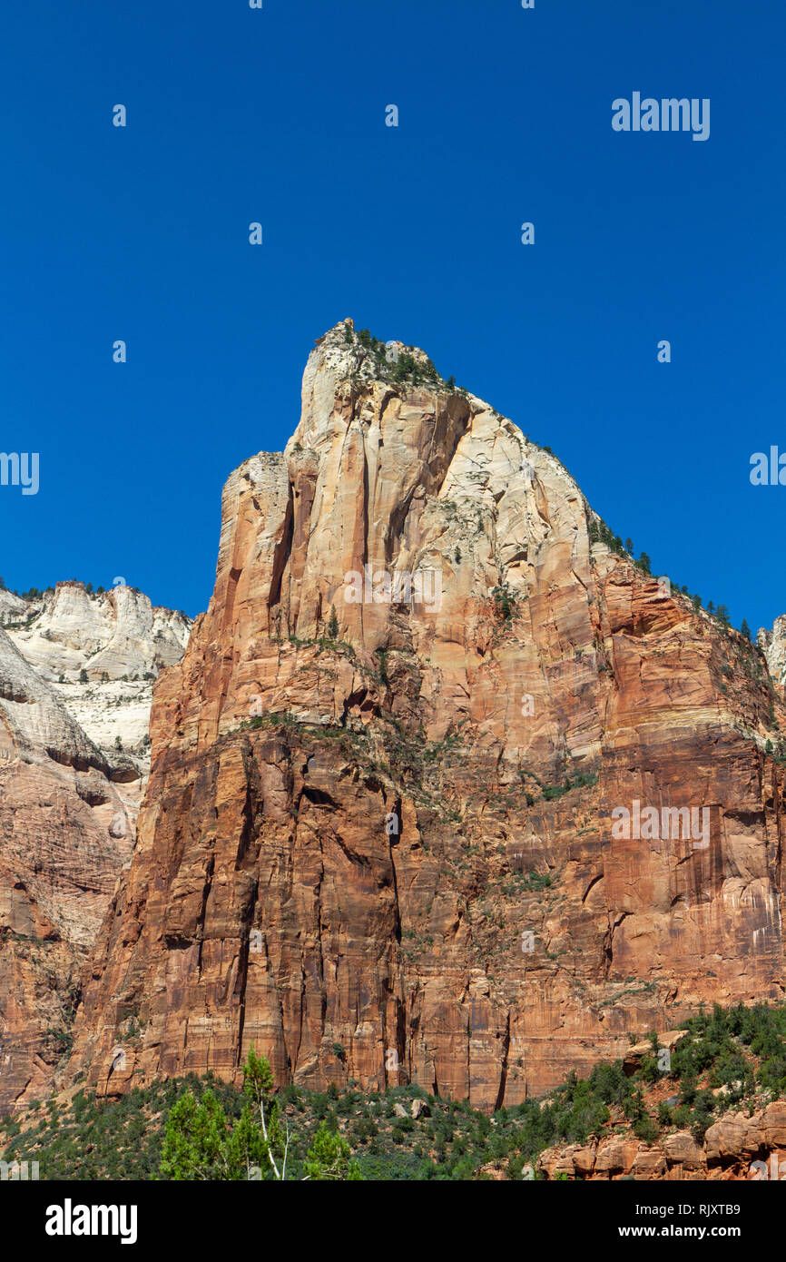 Isaac Peak, the central peak of the Court of the Patriarchs, Zion National Park, Springdale, Utah, United States. - Stock Image