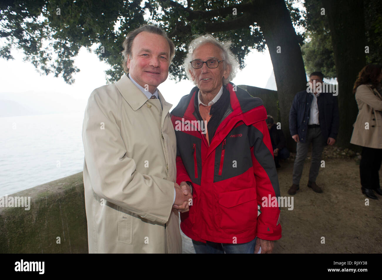 Italy, Lombardy, Sulzano Christ Vladimirov Yavakev in the Iseo lake. In the picture on the island of s. Paolo with Pietro Gussalli Beretta - Stock Image