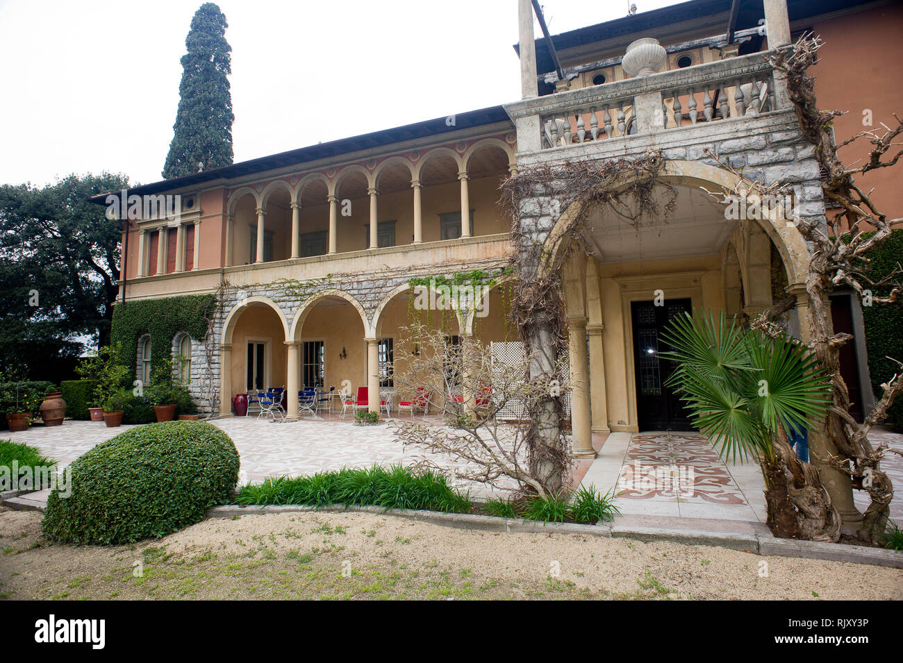 Italy, Lombardy, Sulzano (BS) Lago d'Iseo, island of S, Paolo, Pietro Beretta,  in the garden  of Villa S. Paolo - Stock Image