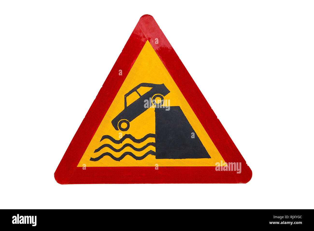 Road sign Departure to quay, Road sign indicating that the car can fall into the river - Stock Image
