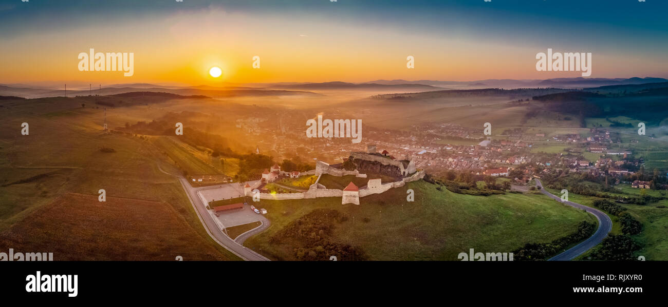 Romania from above. Panoramic view with the Rupea Fortress in Transylvania - Stock Image