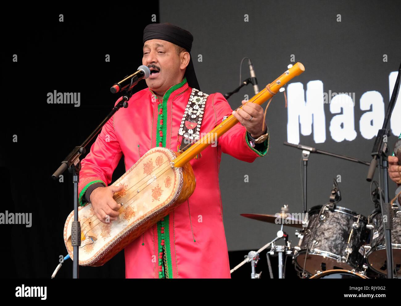 Maalem Hamid El Kasri performing at the WOMAD Festival, Charlton Park near Malmesbury, England, UK. July 28, 2018 - Stock Image