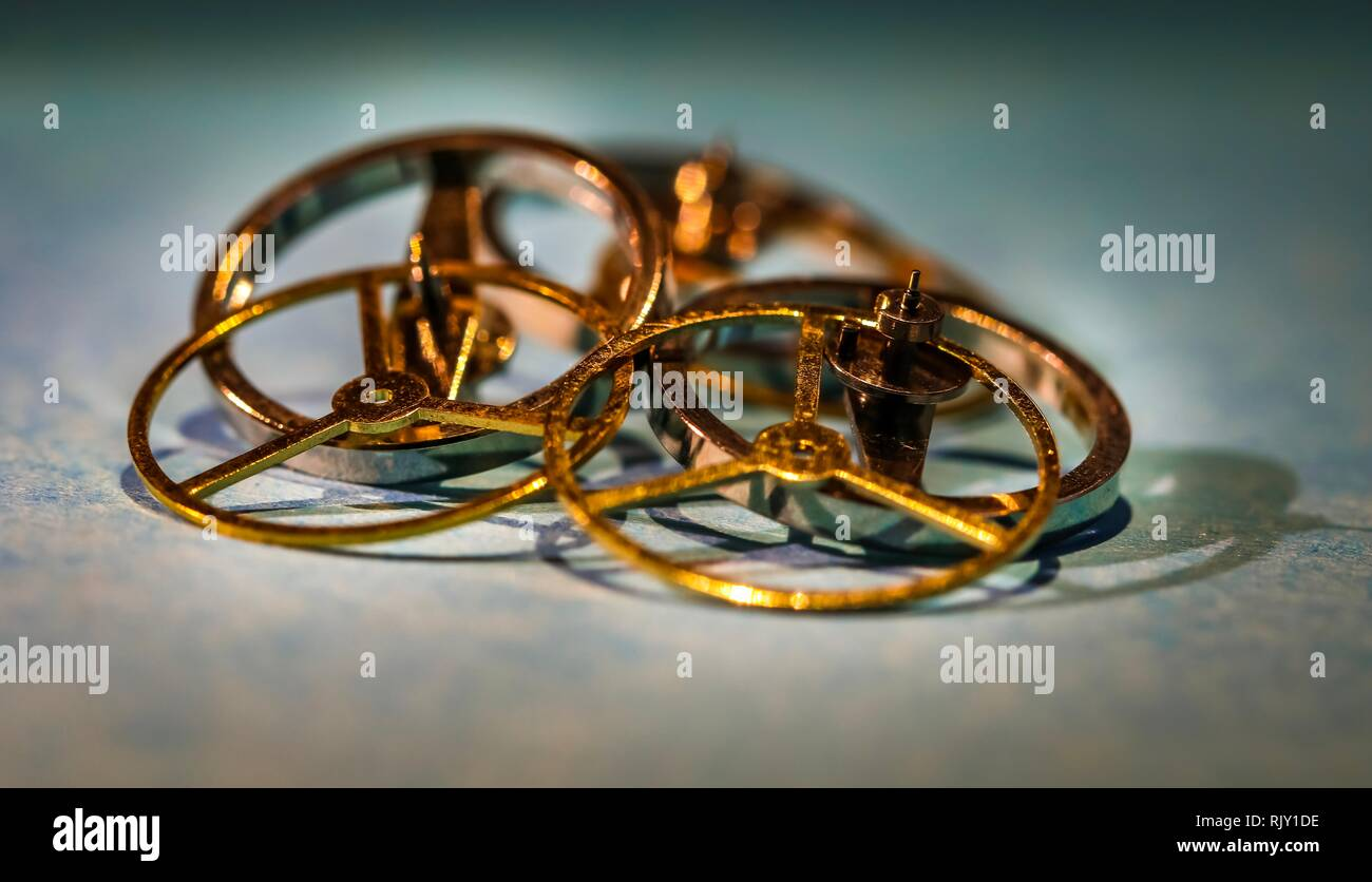 Clockwork golden Time close-up gearwheel mechanic success teamwork - Stock Image