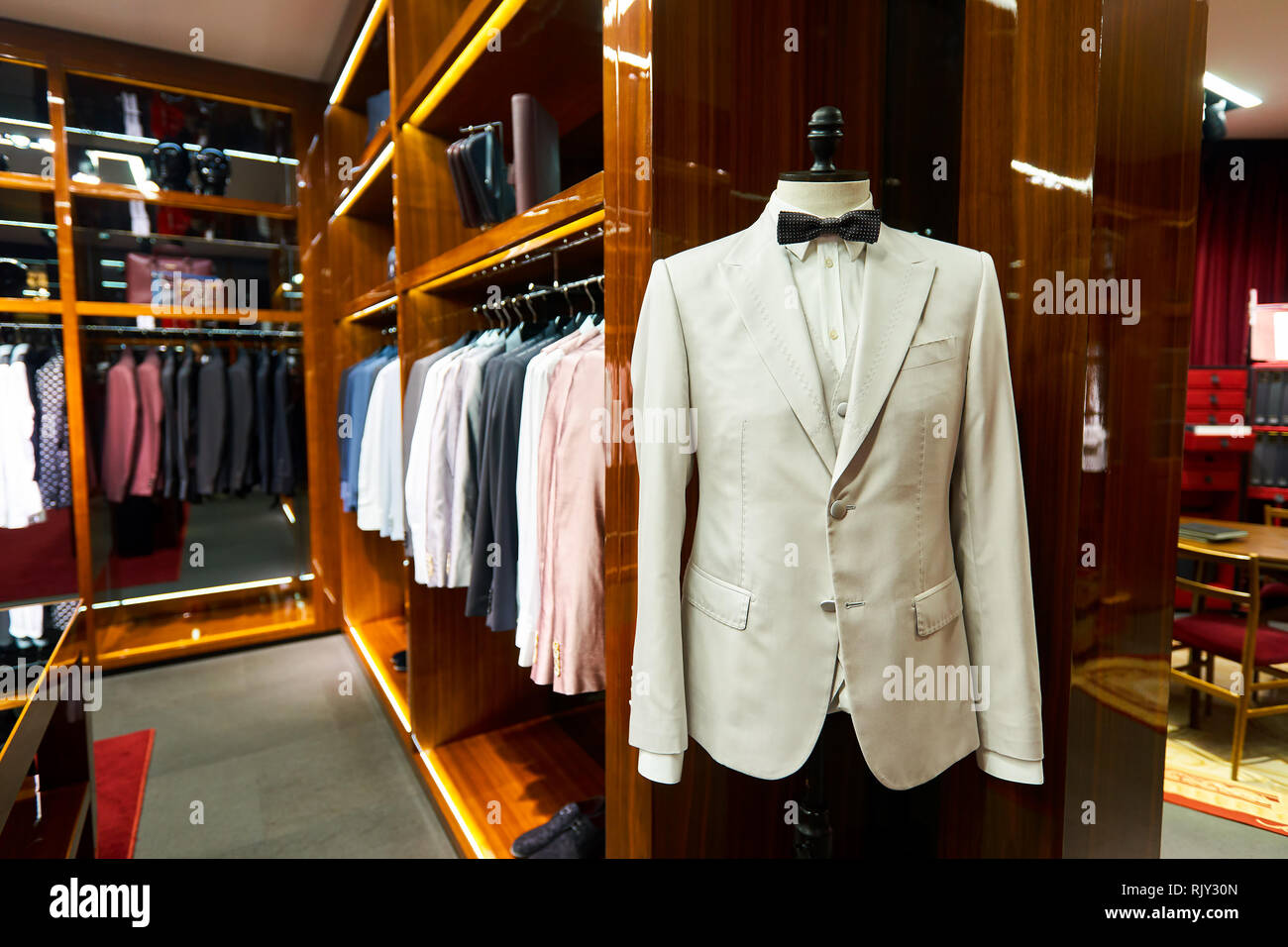 HONG KONG - JANUARY 27, 2016: interior of Dolce & Gabbana store. Dolce & Gabbana is an entry level fashion house founded in 1985 in Legnano by Italian - Stock Image