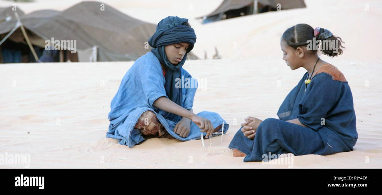 TIMBUKTU  2014 Cohen Media Group film  with Mehdi Mohamed (at left) and Layla Walet Mohamed - Stock Image