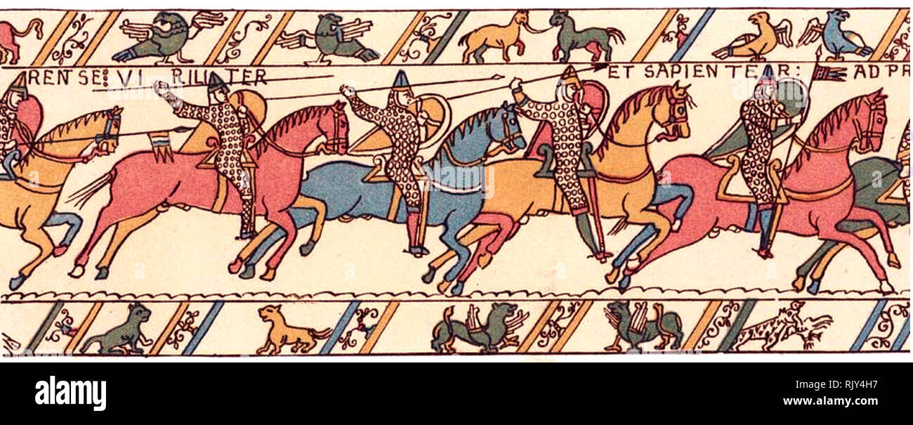BAYEUX TAPESTRY  A 19th century engraving showing King William's Knights - Stock Image