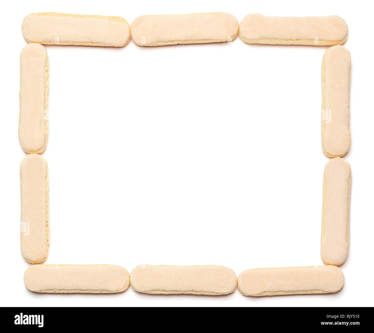 Frame made of savoiardi ladyfinger cookie and cup of coffee - Stock Image