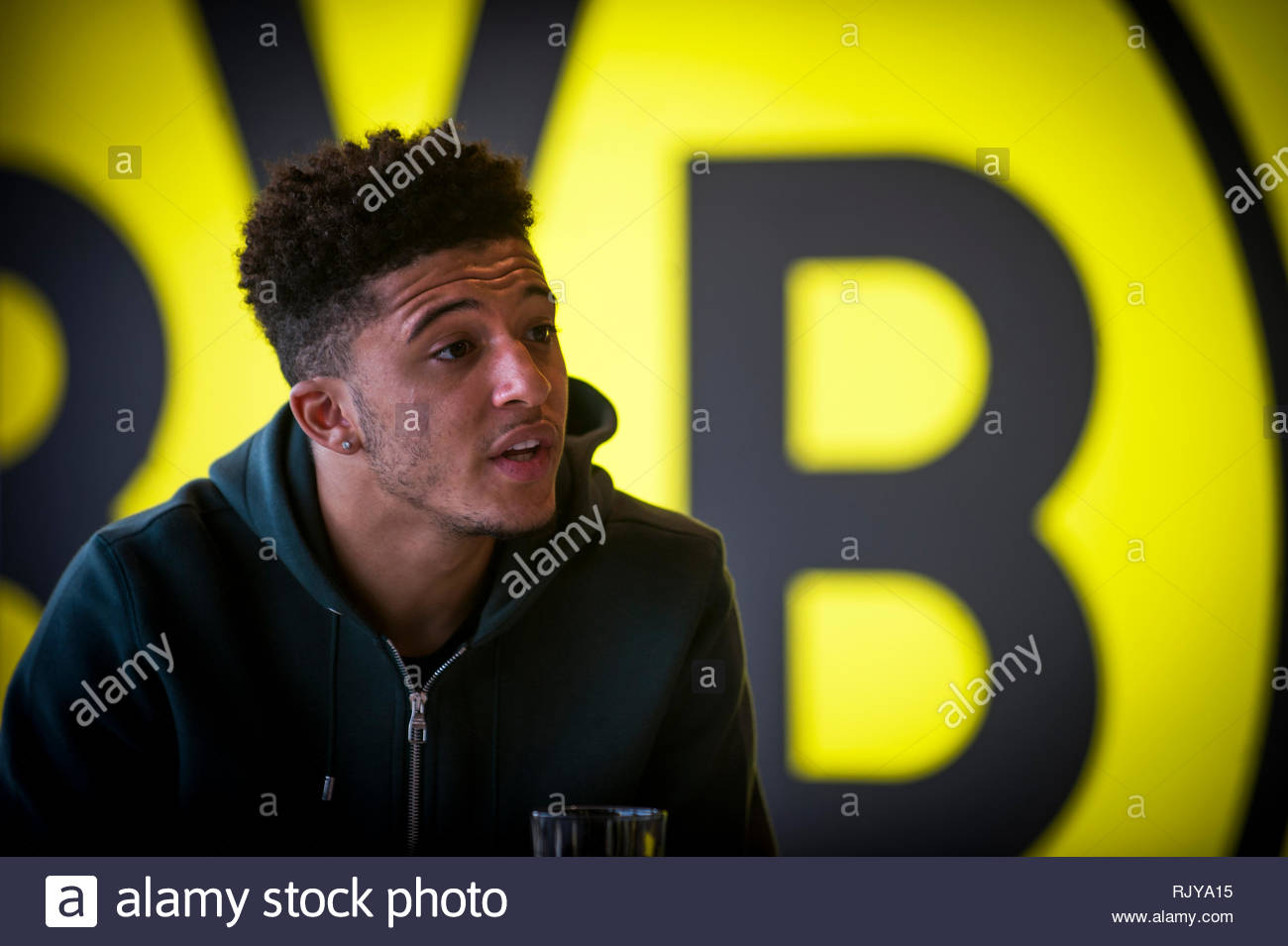 18 year old Jadon Sancho at the German Bundesliga club Borussia Dortmund, Germany. - Stock Image