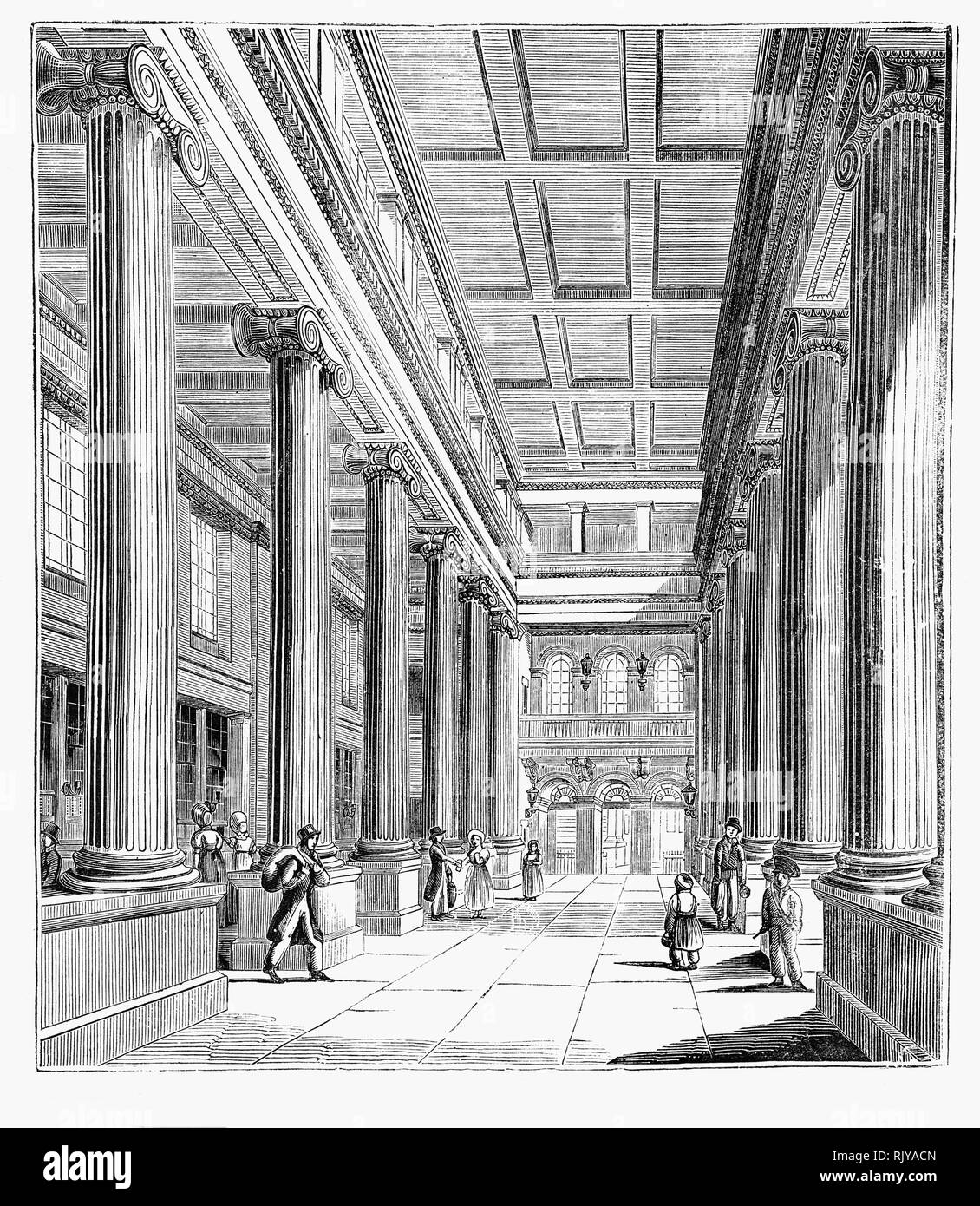The hall of the General Post Office built on the eastern side of St. Martin's Le Grand in the City of London between 1825 and 1829, to designs by Robert Smirke, was the main post office for London between 1829 and 1910, the headquarters of the General Post Office of the United Kingdom of Great Britain and Ireland, and England's first purpose-built post office. It was demolished in 1912. - Stock Image