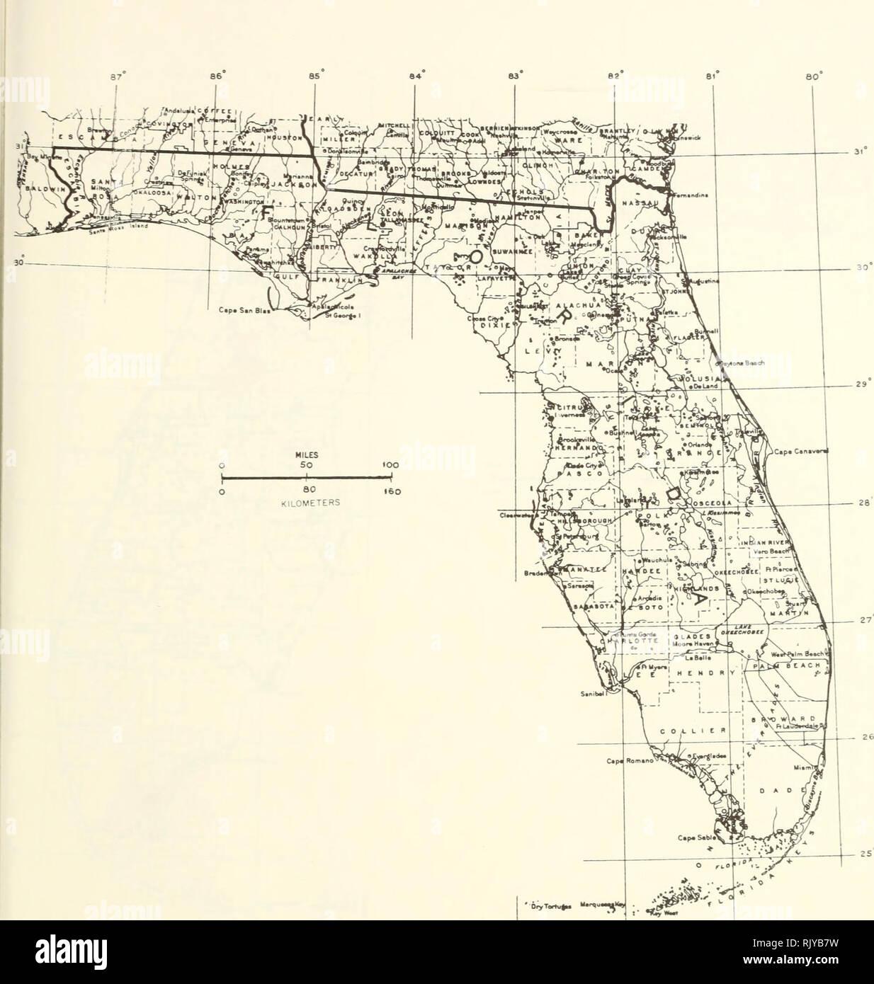 Map Of Florida Counties Stock Photos Map Of Florida Counties Stock