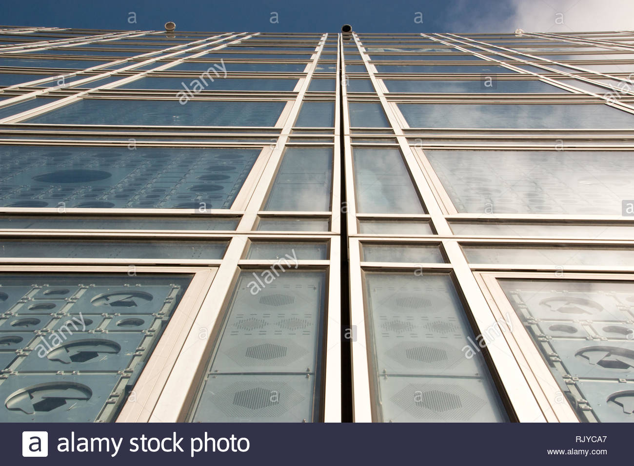 Paris (France), February 7, 2019. View of the architecture of the Institute of the Arab World, in Paris. - Stock Image