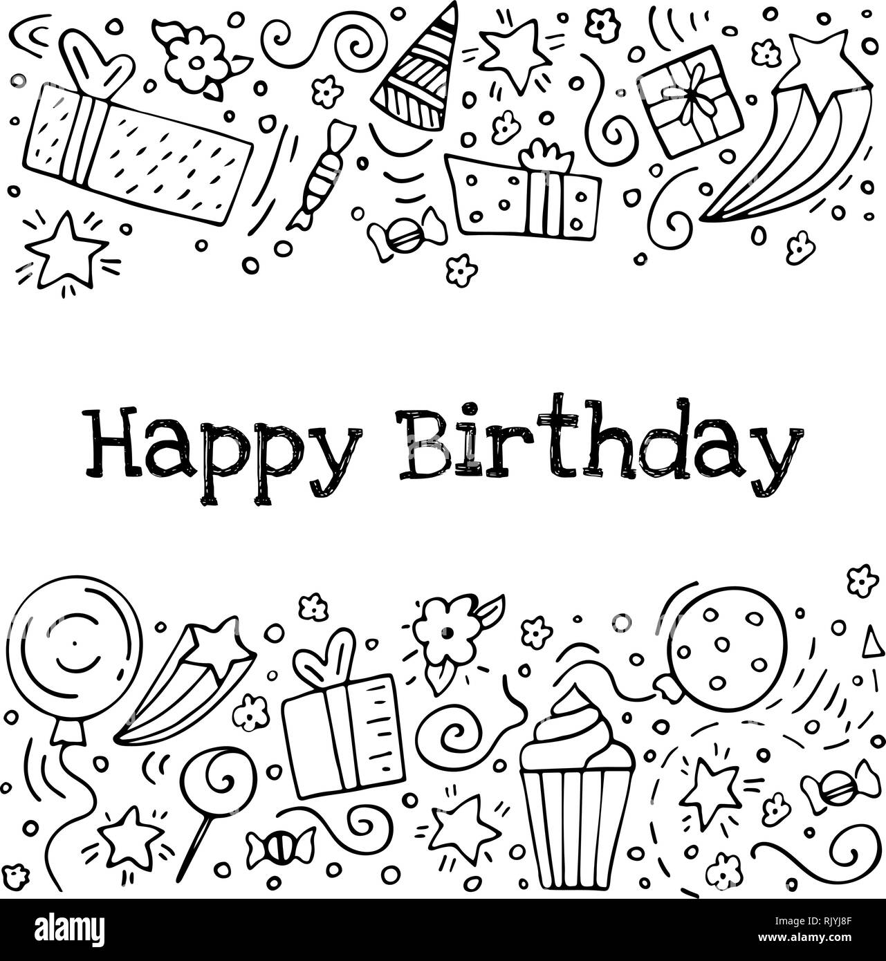 Hand drawn set of birthday ink doodles happy birthday greeting card black and white