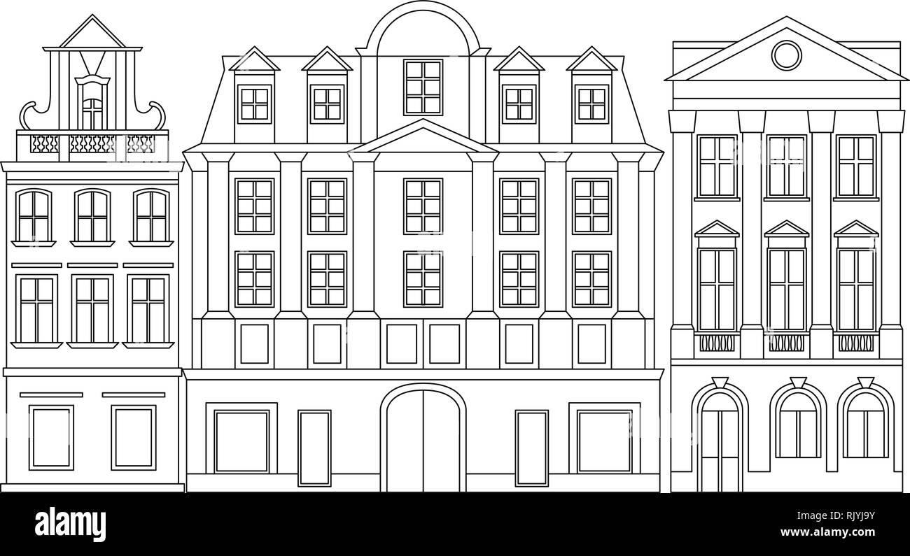 Vector line illustration of European cozy historical buildings. Line monochrome art. - Stock Vector