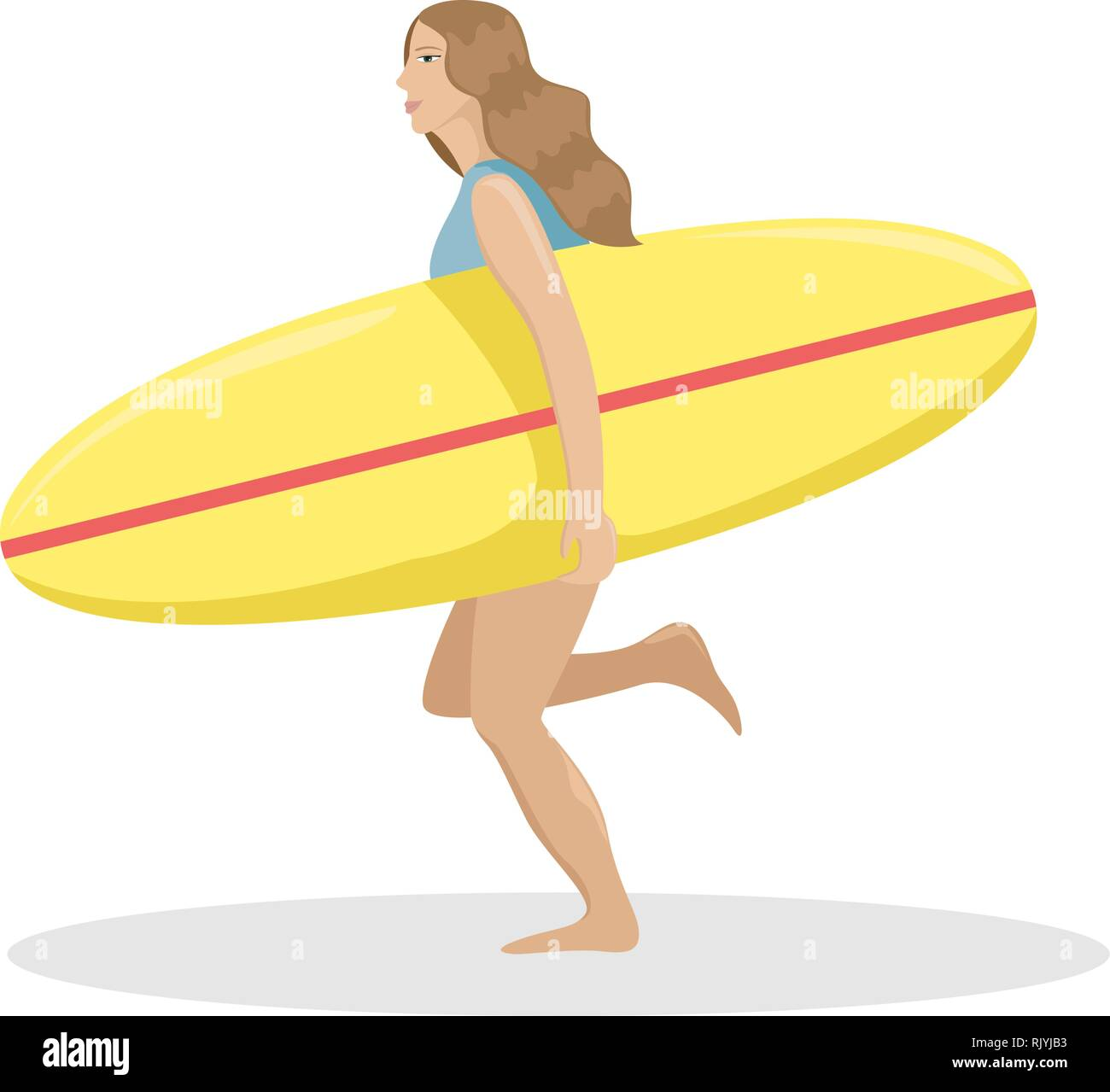 Girl on the beach in a swimsuit running with a surf in her hands. Flat vector illustration. - Stock Image