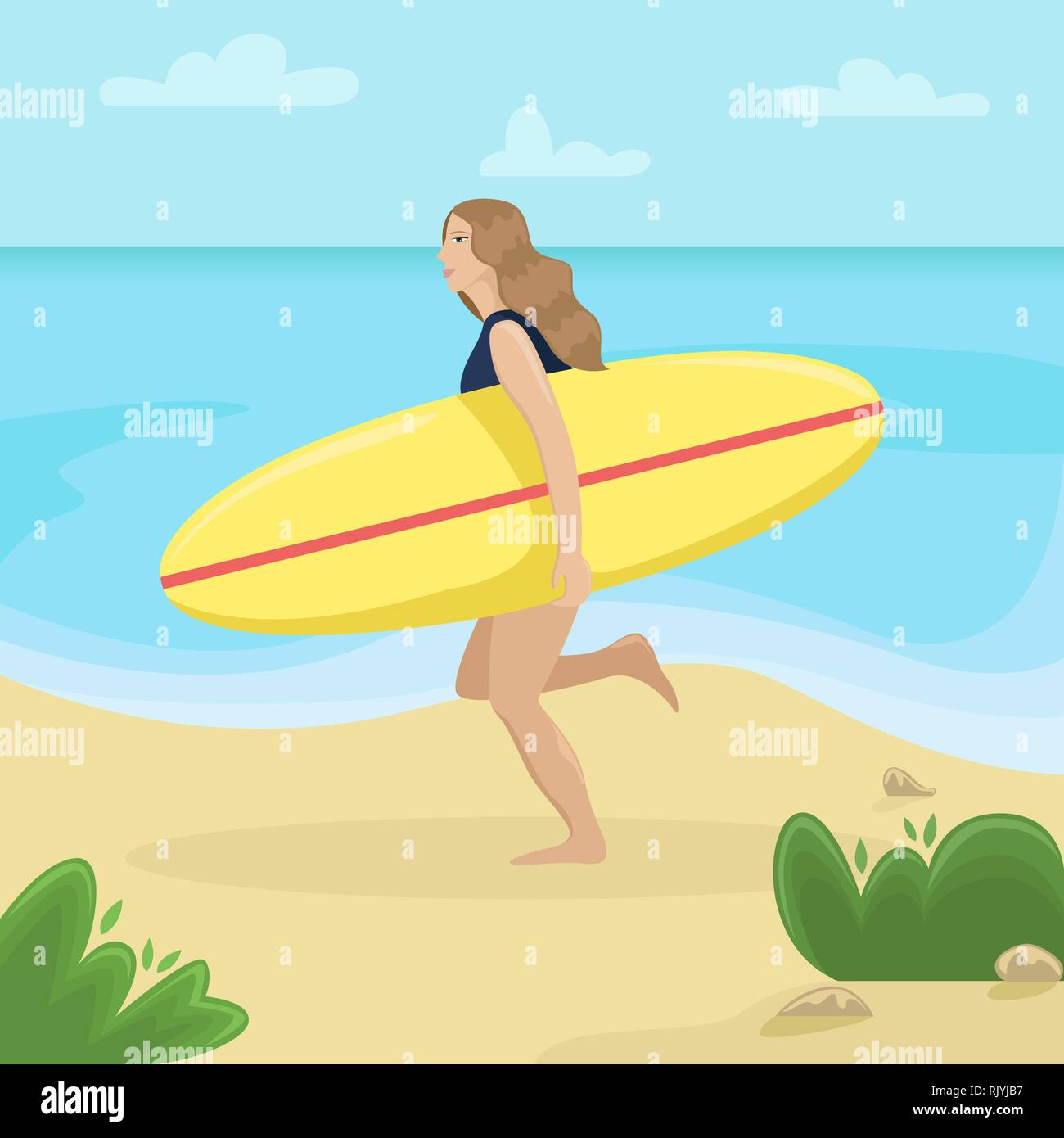 Girl on the beach in a swimsuit running with a surf in her hands. Flat vector illustration. Beach landscape. - Stock Image