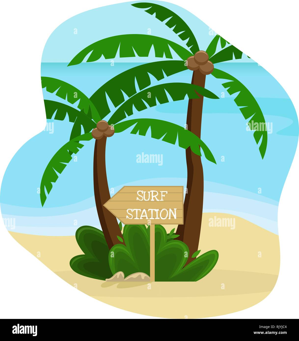 Beach landscape. Palm trees with a wooden pointer to the surf station. Flat vector illustration. Stock Vector