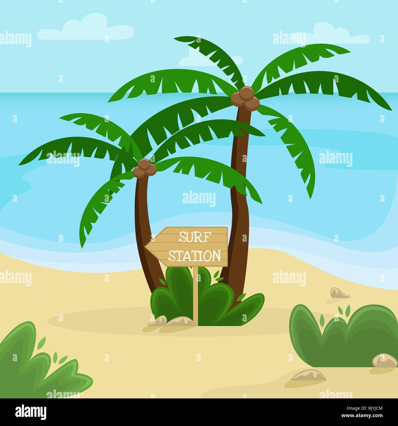 Beach landscape. Palm trees with a wooden pointer to the surf station. Flat vector illustration. - Stock Vector