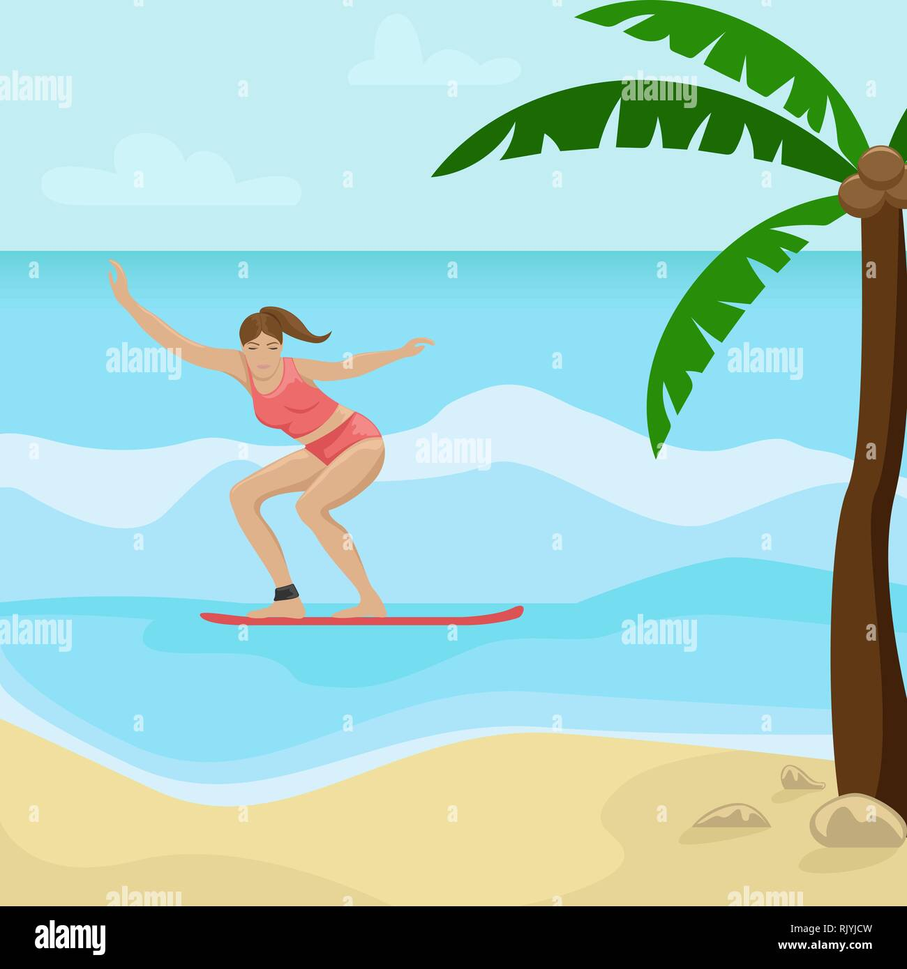 Beach landscape with palm trees. Girl surfing on the waves. Flat vector illustration. - Stock Vector