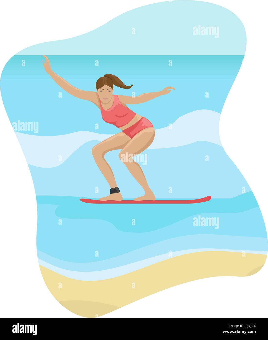 Beach landscape. Girl surfing on the waves. Flat vector illustration. - Stock Image