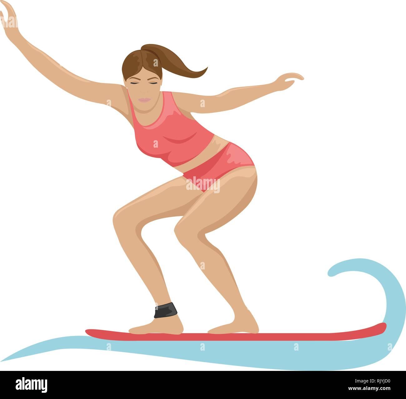 Summer activity. Girl surfing on the waves. Flat vector illustration. - Stock Vector