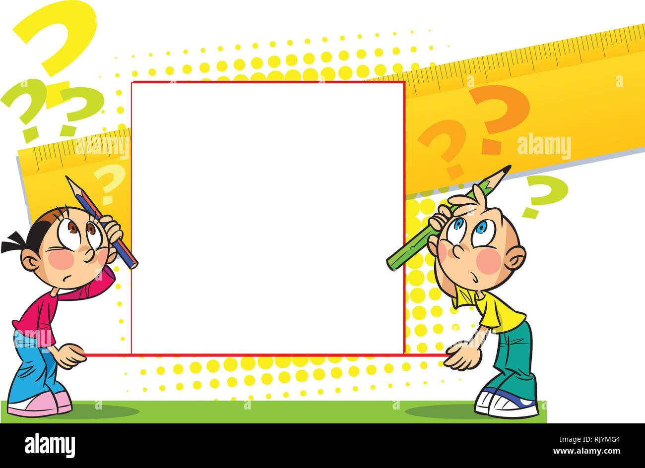 The illustration shows a boy and girl with banner. Illustration done in cartoon style, there is block for text. - Stock Image