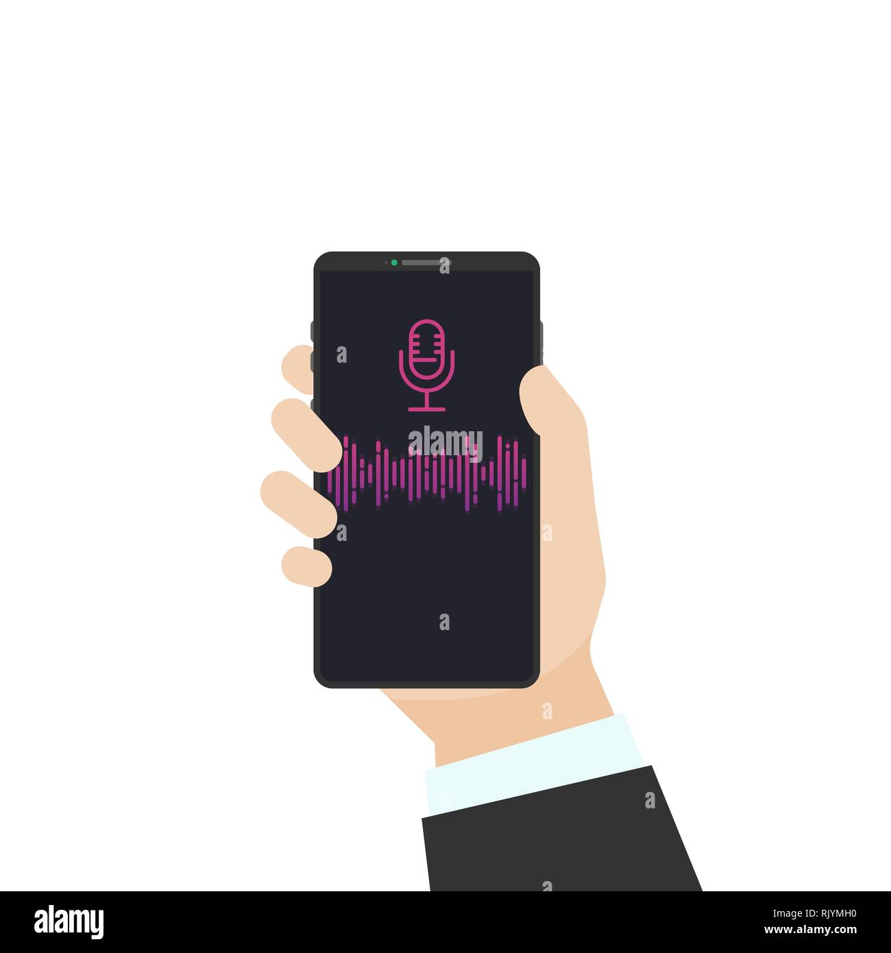 Voice assistant flat vector illustration. Human hand holding black phone with sound wave and microphone sign. Phone with voice recognition and communi - Stock Vector