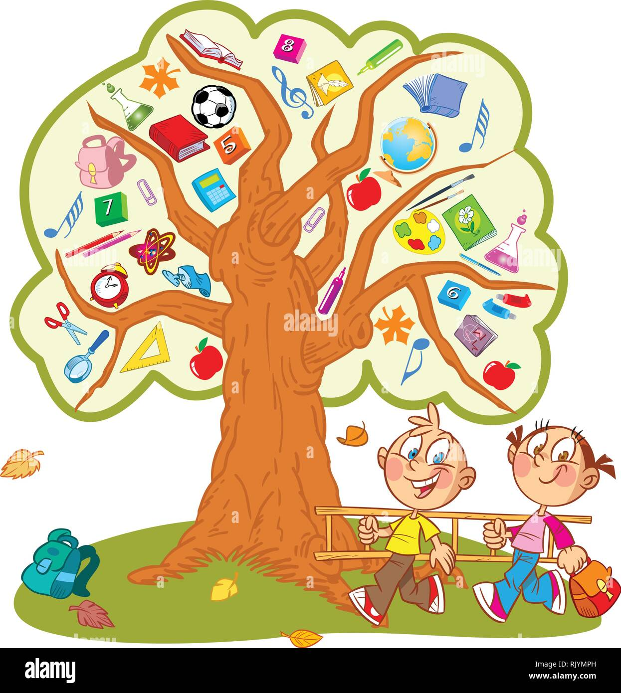 The illustration shows the tree. Instead of leaves shows the attributes and items for school. Under the tree, funny boy and girl carry a ladder to cli Stock Vector