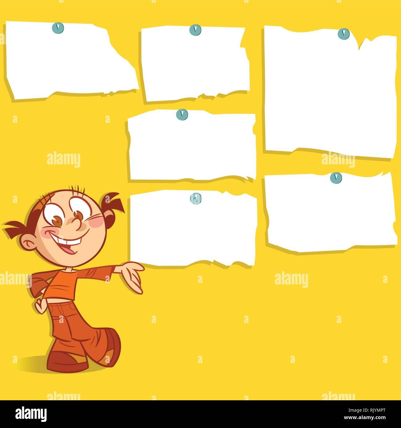 The illustration shows a cartoon girl. She smiles and points to the wall with ads. Illustration done on separate layers. - Stock Image