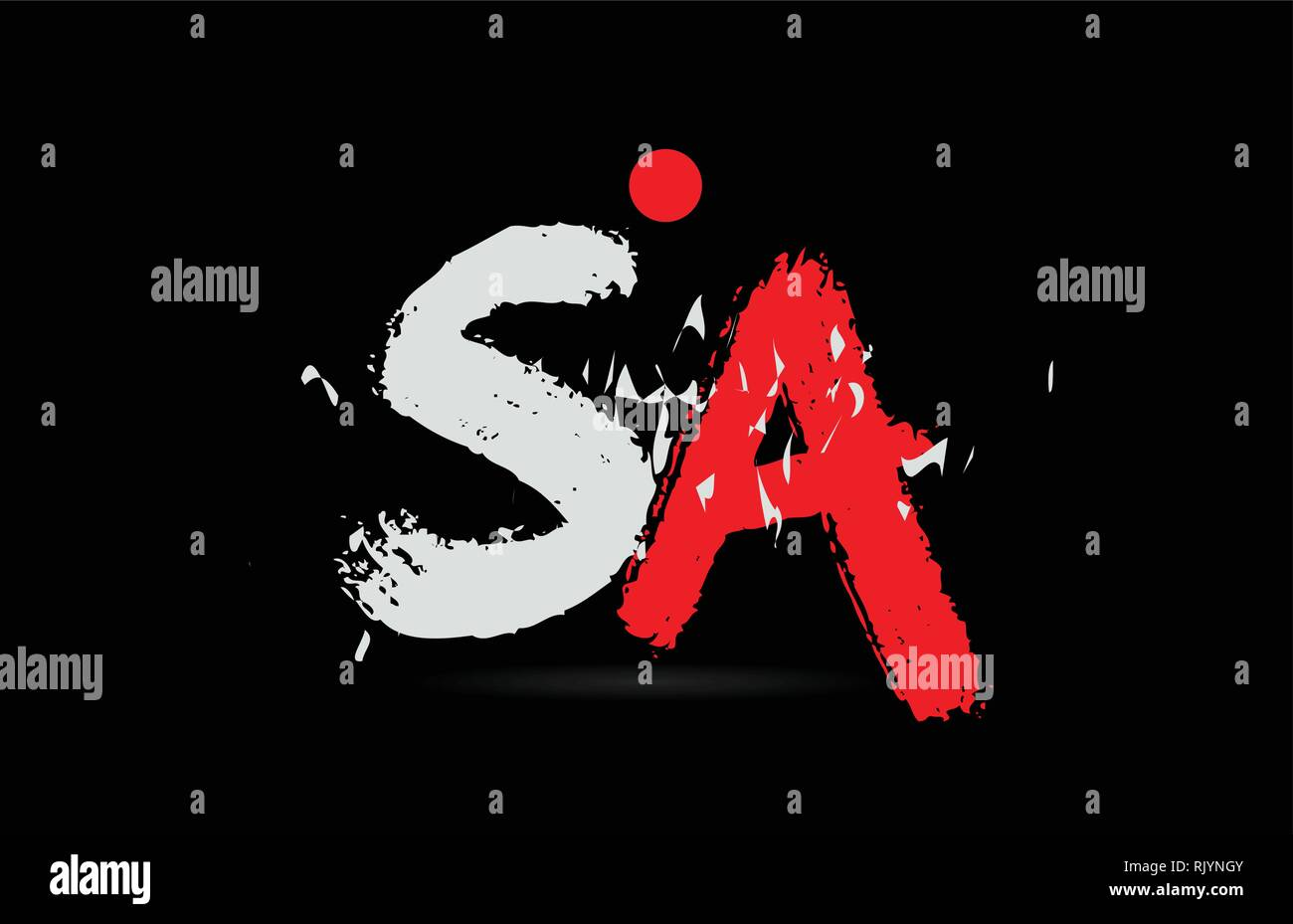 Design of alphabet letter combination SA S A on black background with grunge texture and white red color suitable as a logo for a company or business - Stock Vector