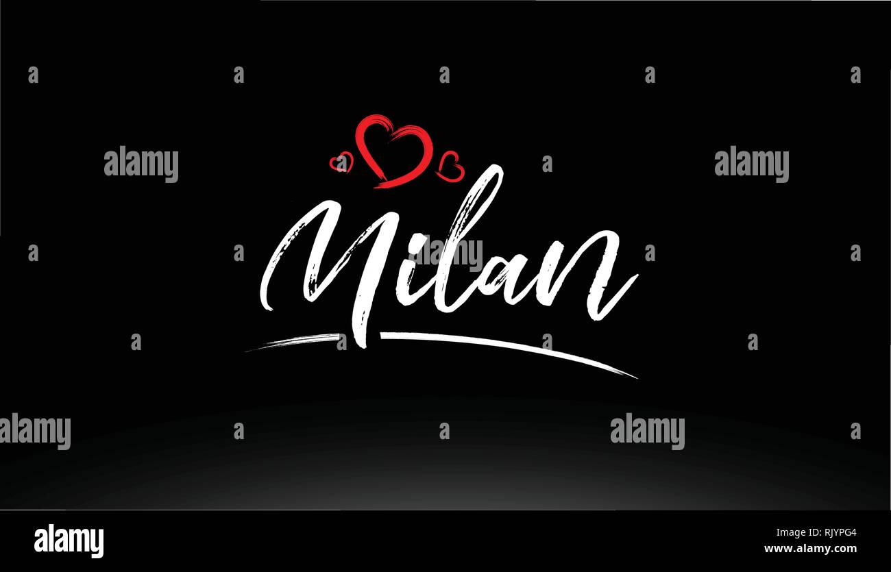 milan city hand written text with red heart suitable for logo or typography design - Stock Vector