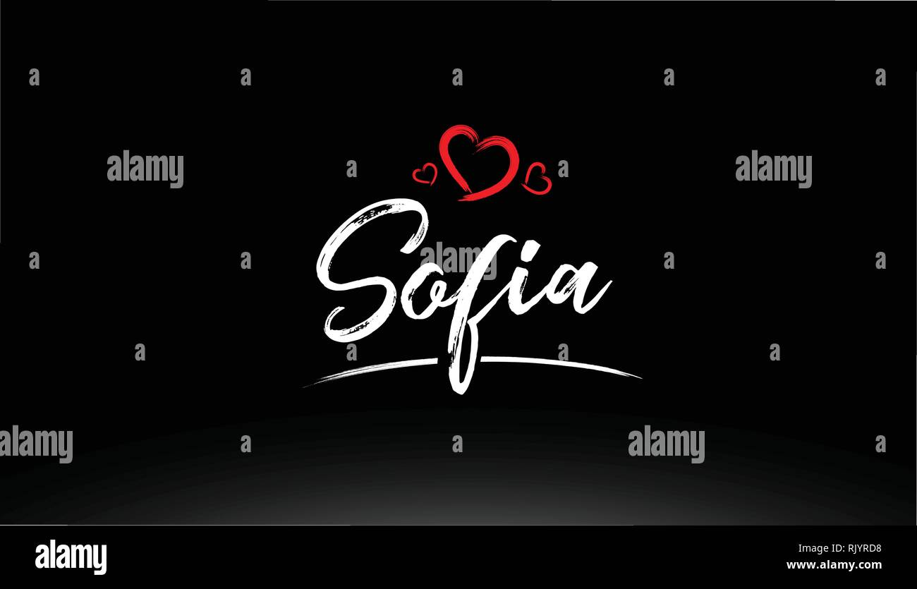 sofia city hand written text with red heart suitable for logo or typography design Stock Vector