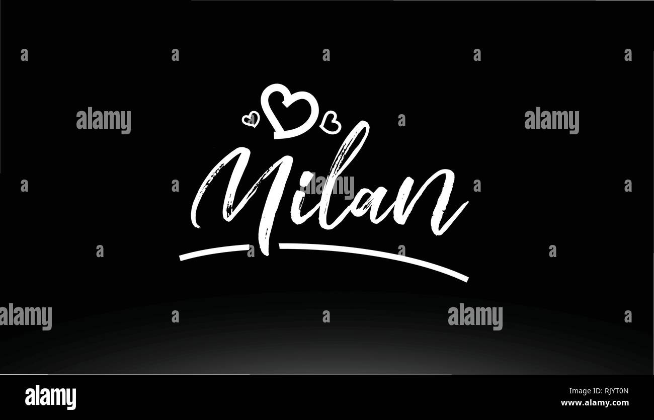 milan black and white city hand written text with heart for logo or typography design - Stock Vector