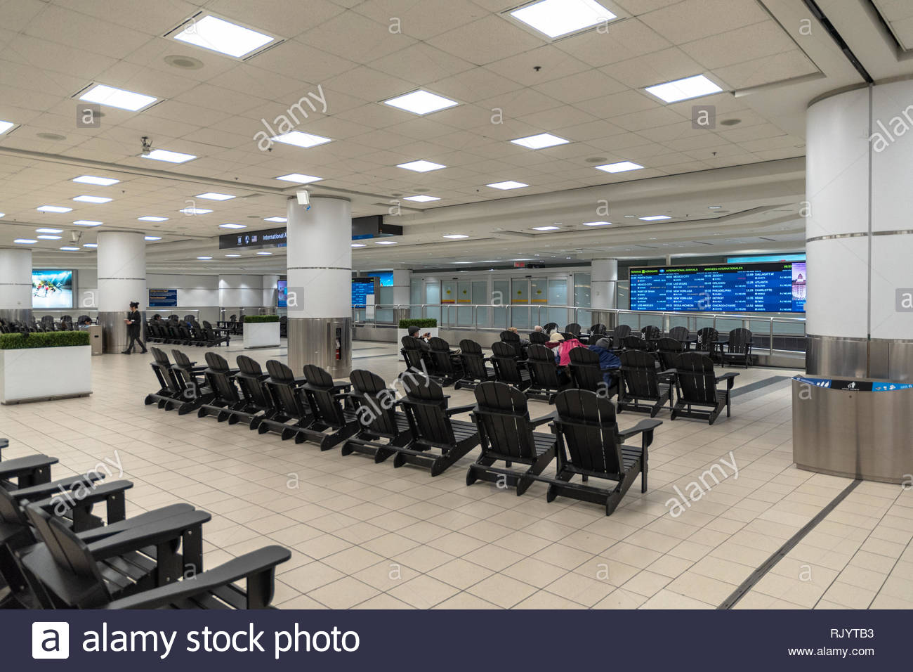 Pearson International Airport. Indoors at the arrival area of Terminal 3. The place is one of the busiest transportation hubs in Canada. - Stock Image