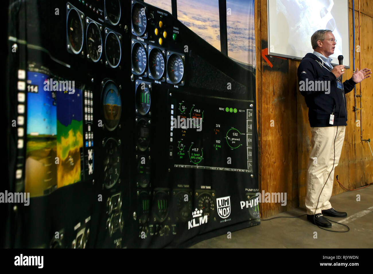 XCOR ceo John Gibson is welcoming the visitors at the Mojave spaceport. - Stock Image