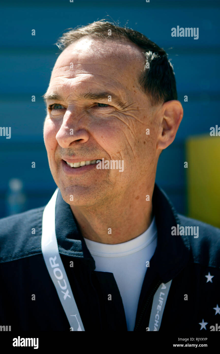 Portrait of test pilot Brian Binnie who became a legend when he flew SpaceShipOne into suborbital space at the Mojave spaceport - Stock Image