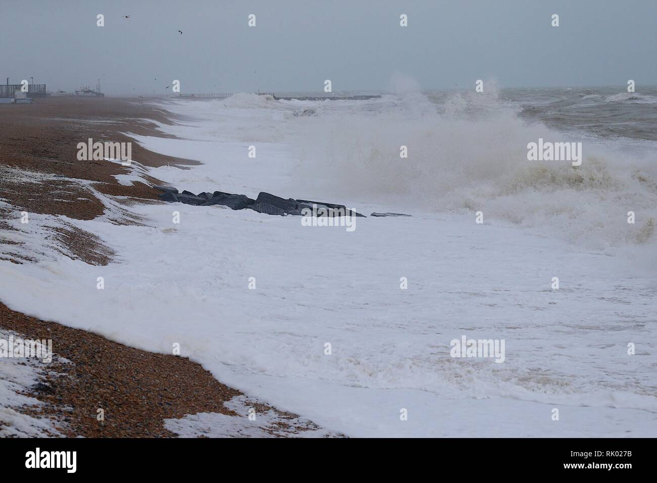 Hastings, East Sussex, UK. 08 Feb, 2019. UK Weather: Storm Eric. Gale force winds bring raging seas to Hastings in East Sussex. © Paul Lawrenson 2019, Photo Credit: Paul Lawrenson / Alamy Live News Stock Photo