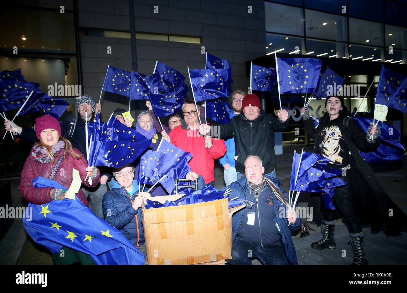 Salford, Greater Manchester, UK. 8th Feb 2019. Pro EU campaigners outside the BBC as the audience gathers for the live filming of 'Eurovision you decide'. European Union flags were removed from people as they entered the BBC studios.    BBC, Media City, Salford, UK, 8th February 2019 Credit: Barbara Cook/Alamy Live News - Stock Image