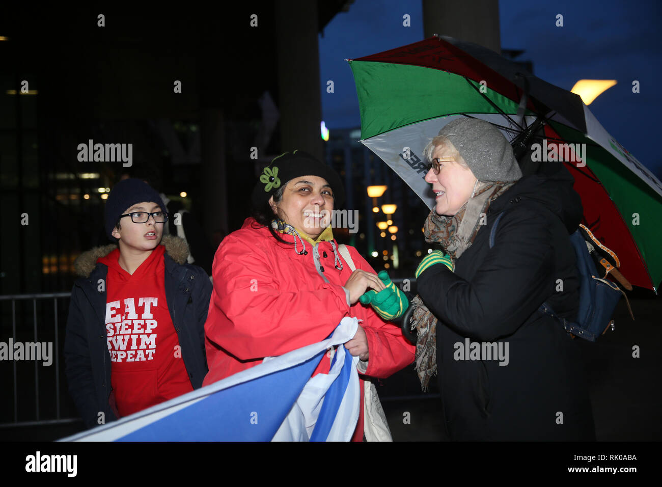 Salford, Greater Manchester, UK. 8th Feb 2019. Pro Palestinian campaigner and pro Israeli outside the BBC as an audience gathers for the live filming of 'Eurovision you decide'.  Eurovision 2019 will take place in Israel and pro Israeli's gathered outside the studios  to counter protest  those in support of Palestine who are calling on the BBC to withdraw from the 2019 Eurovision song contest.   BBC, Media City, Salford, UK, 8th February 2019 Credit: Barbara Cook/Alamy Live News - Stock Image