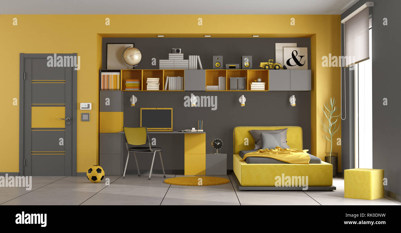 Gray and yellow kids room with single bed,bookcase and desk ...