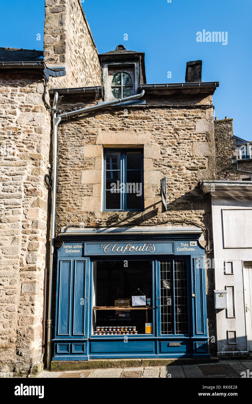 Dinan, France - July 23, 2018: Picturesque vintage storefront  in historic centre of the city. Stock Photo