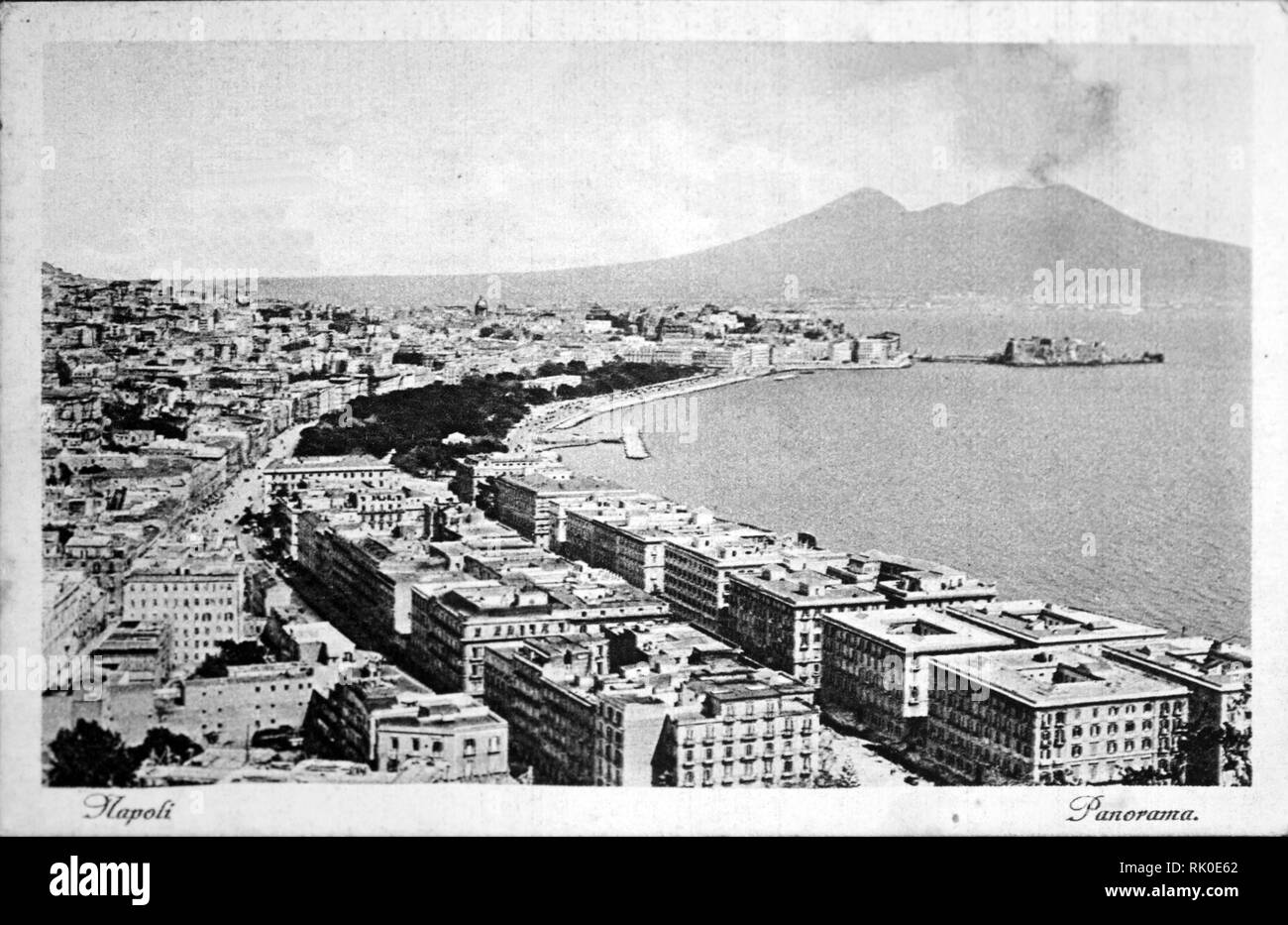 Vintage postcard of Naples, Italy 1935 about - Stock Image