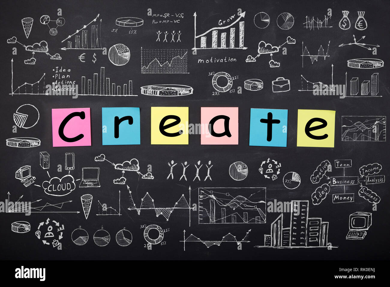 Business concept word create sketch with schemes and graphs on chalkboard